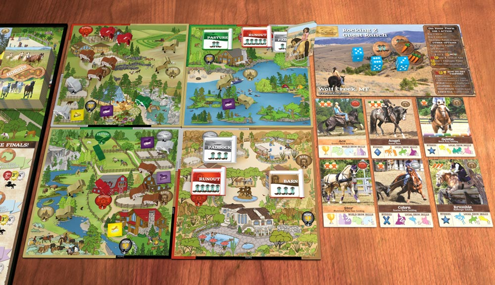 Preview of the components of Fantasy Ranch Board Game